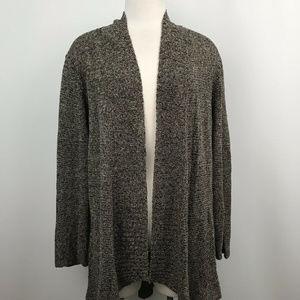 Eileen Fisher Linen Open Cardigan High Low Size Lg